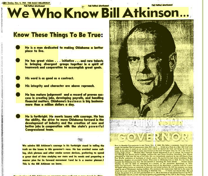 This Atkinson advertisement ran in the final weekend before the 1962 gubitorial election.