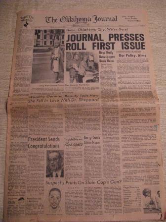 Front page of the inaugural issue of the Oklahoma Journal