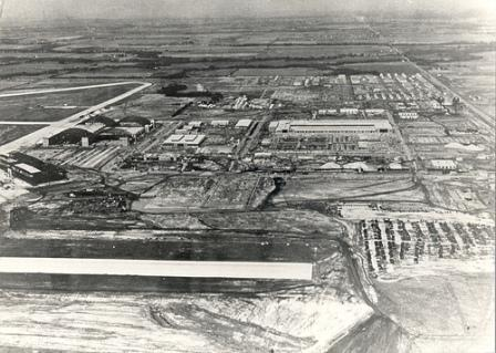 Tinker Air Force Base emerges along SE 29, circa 1941. Photo courtesy of the Atkinson Center.